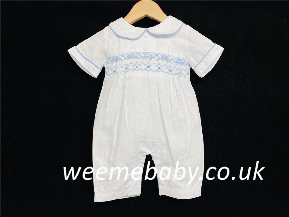 Baby Boy White with Blue Smock Romper